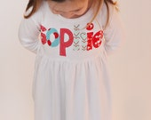 Valentines Dress with Name - You Choose Dress Color and Sleeve Length