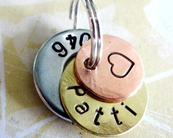 Stethoscope ID Tag - Medical ID Tag - Hand Stamped Washer, Brass disc and Copper Disc
