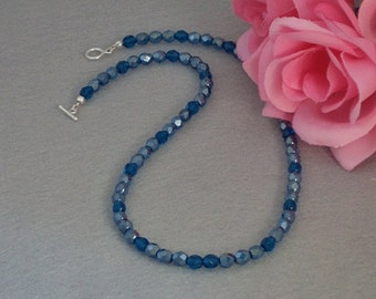 Czech Glass Beaded Necklace In Capri Blue    FREE SHIPPING