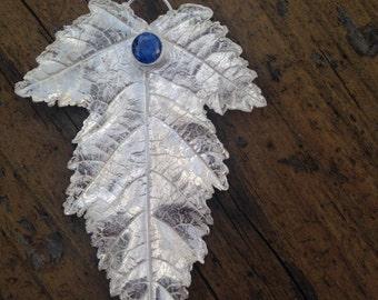 Fine silver leaf with blue cz 3
