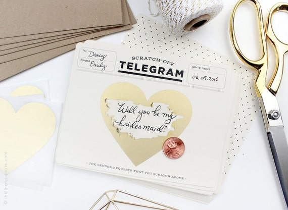 "Scratch-off ""Be My Bridesmaid"" Telegram / Classic Cream & Black"