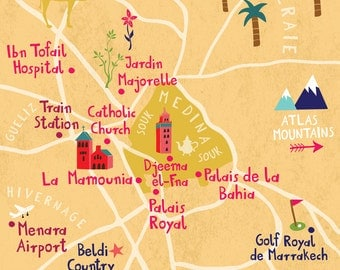 Personalized Illustrated wedding map of Marrakech