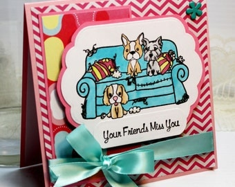 "Your Friends Miss You - Handmade Card Greeting Card 5.25 x 5.25"" the Greeting Farm Thinking of You Missing You Stationery 3D Card - OOAK"