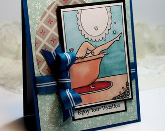 "Enjoy Your Vacation - Handmade Card Greeting Card 5.5 x 4.25"" My Favorite Things BFF Girlfriend Stationery 3D Card - OOAK"