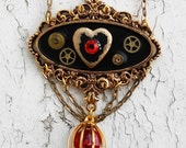 Steampunk Victorian Romantic Love Heart Locket Painted Pendant Hanging Captured Glass Crystal Heart Gold Tne Jewelry Necklace