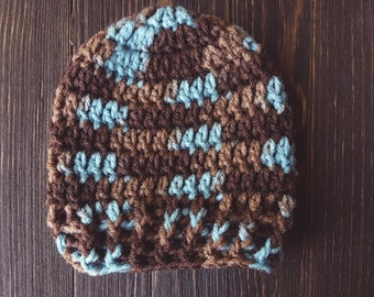 Newborn Boy Hat, Baby Boy Crochet Hat, Newborn Photography Prop, Brown and Aqua Boy Hat, Ready to Ship Crochet Hat