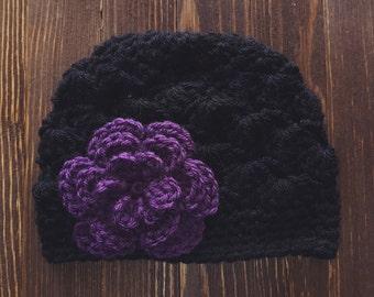 Girls Hat, Black and Dark Purple Girl Hat, Newborn Girl Hat, Crochet Baby Hat, Crochet Girls Hat, Baby Girl Hat, Baby Hat for Girls