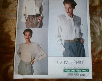 Vintage 1989 Vogue American Designer Calvin Klein Pattern 2397, Sz 6, 8, 10