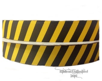 100 Yards 7/8 Inch Yellow and Black Diagonal Stripe Grosgrain Ribbon
