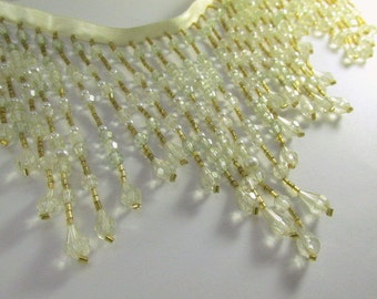 Beaded Fringe Trim in Ivory, Very Pale Mint Green, Light Gold 5.5 inch Decorator or Costume Trim with pearls by the yard or meter
