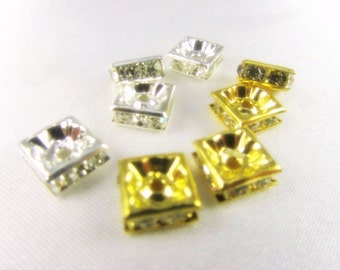 6mm Square Gold or Silver and Clear Crystal Squardelle Metal Spacer Jewelry Beads or Findings