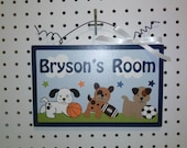 Bow Wow Doggie Sports Buddies-Personalized with any Name or Text! Wood Door Sign/Plaque Nursery Decor/Baby/Kids/Teacher So Cute!