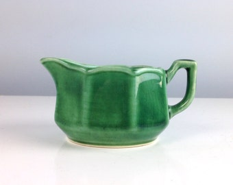 Antique Coffee Creamer, Green Mount Clemens Petalware Pitcher for Cream or Milk, 1940s Art Pottery, Vintage Pottery