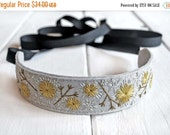 SUMMER SALE Embroidered Headband, Forest Wedding Headband, Boho Headband, Festival Headband,