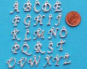 BULK 2 Sets Script Alphabet Letter Charms Antique Silver Tone Full Alphabet 26 Charms x 2 Beautiful Cursive Design - ALPHA800