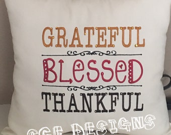 Grateful-Thankful-Blessed Embroidered saying pillow embellished with crystals- fall pillow decor-decorative Thanksgiving pillow-home decor