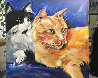 Cat Painting painted in acrylic on large canvas