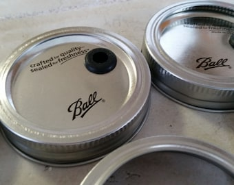 100 REGULAR SIZE Lids Ball Mason Jar DIY Straw Lids and Bands Create your own Wedding mason Jars tumblers Christmas Party