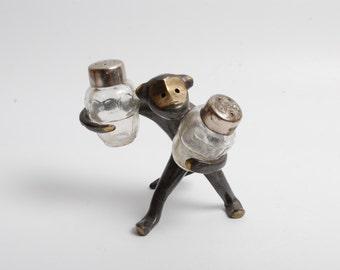 Vintage brass salt and paper holder, funny monkey.