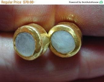 SALE Moonstone stud earrings ,Gold post earrings ,Women jewelry ,Round earrings ,Medium earrings ,Casual earrings ,Wedding earrings