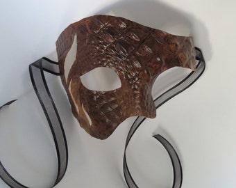 Phantom Leather Masquerade Mask for Men - Leather Mask - Half Mask - Masquerade - Costume Ball Event - Prom - Halloween Mask