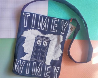 Dr Who timey wimey tardis upcycled t-shirt tote bag