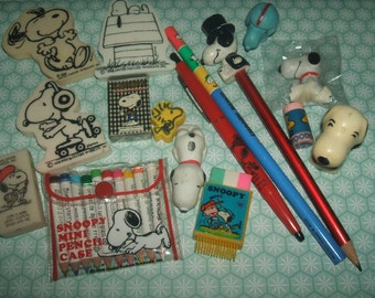 Rare 1970s and 1980s Collection of Snoopy Stationery Items - Pencils and erasers - Great Vintage Condition