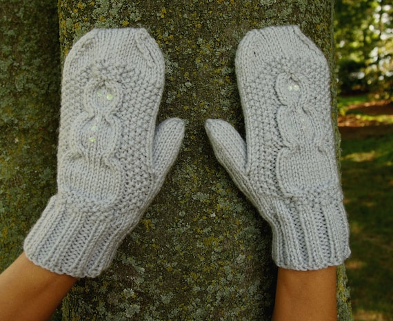 Knit Snowman Mittens with Sequins Cute Knitted Vegan Mittens
