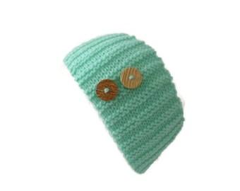 Winter Knit Headband, Mint Headband, Knit Earwarmers,  Winter Accessory, Winter Earwarmers
