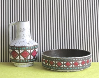Vintage East German Pottery Set of Vase and Bowl by Strehla White with Burgundy and Green Geometric Pattern