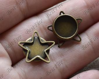 6 pcs Antique bronze star pendant round pendant tray (Cabochon size 10 mm),bezel charm findings,lacework findings,cabochon blank finding