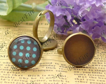 10 pcs Antique Brass round Pad Open Adjustable ring,round Base Cabochon Size:16mm,Ring base, filigree Base findings,ring finding