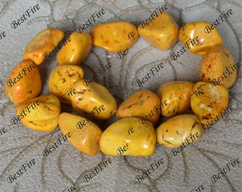 Single Dyed yellow Turquoise nugget loose beads,turquoise nugget gemstone beads,turquoise beads 15inch