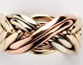 Men's Sterling Silver or Gold wide 8 band puzzle ring Style 8WB