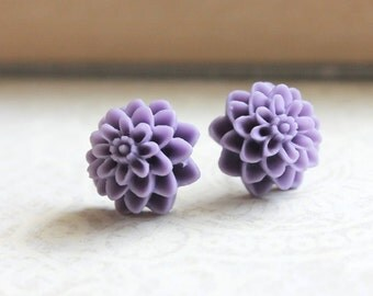 Dahlia Stud Earrings Lavender Purple Chrysanthemum Flower Post Earrings Floral Accessories Gift for Her Under 20 Surgical Steel Posts