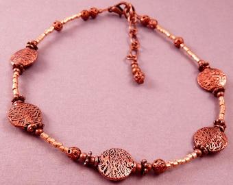 Copper Anklet Copper Ankle Bracelet Beaded Anklet Beaded Jewelry Copper Jewelry Metal Jewelry Beaded Ankle Bracelet OOAK Jewelry