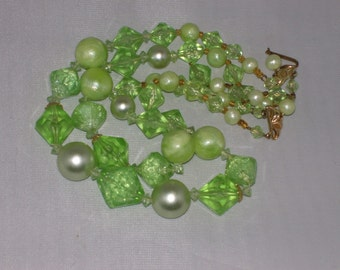 Vintage Mint Green Multi Strand Necklace 1950s 1960s Mid Century Faux Pearls Plastic Beads