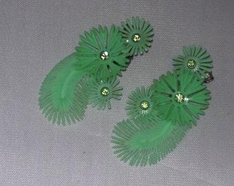 Vintage Mid Century Flower Earrings Plastic Ear Climbers Green Rhinestones 1950s 50s Rockabilly