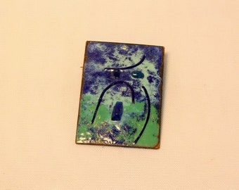 Mid Century Modern Enamel on Copper Brooch Pendant 1950s Artisan Pin Blue Green