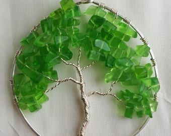 Wire Wrapped Tree of Life Ornament with Green Glass Chip Stone