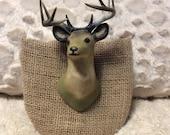 THANK YOU SALE Vintage Kitschy Plastic Deer Head Figurine Mount on Burlap Wooden Mount Stag Antlers