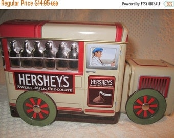 15% SALE Vintage HERSHEY TRUCK Tin Container Americana Advertising Chocolate Brown Red Collectible