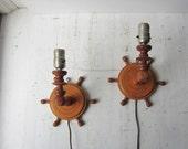 Pair Nautical Wall Lights - Vintage Handmade Wood Wall Sconces - Nautical Home Decor