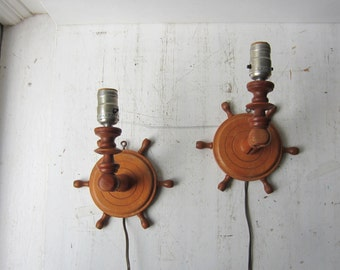Pair Nautical Wall Lights - Vintage Handmade Wood Wall Sconces - Nautical Home Decor