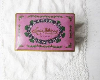 ON SALE Vintage Louis Sherry Chocolate Tin / Metal Box - Hinged Lid - Pink / Purple