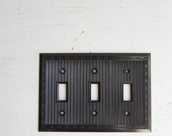 ON SALE Vintage Art Deco Brown Bakelite Triple Light Switch Cover - Switch Plate - New Old Stock w/ Original Screws - Qty Available - Smooth
