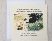 Keep Me In Your Heart - Winnie the Pooh Quote - Classic Piglet and Pooh Note Card