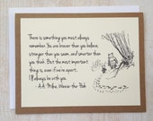 Always Remember - Winnie the Pooh Quote - Classic Piglet and Pooh Note Card Cream On Kraft Brown