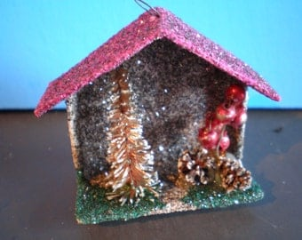 Vintage Mid Century Christmas Ornament - Decoration - Putz-Mica Christmas Village House