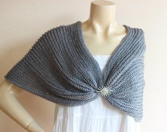 Dark Gray  Bridal Capelet / Wedding Wrap Shrug Bolero/Hand Knit Acrylic scarf with pin-vegan scarf-Metallic Cape